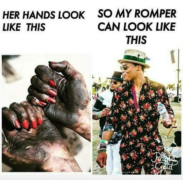 Meme of a girl with oiled up hands and a guy wearing a flamboyant romper, making fun of a similar meme but reversing the gender roles.