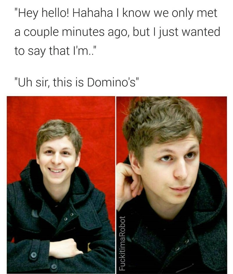 Funny reaction images of Michael Cera and a joke about him being awkward at Domino's