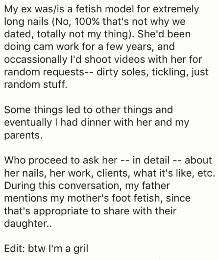 Cam girl story about meeting the parents.