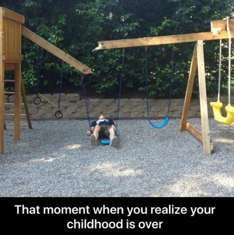 Funny shocking picture of a broken child's swing set, with a non-child person lying on the ground in shock, might be staged after the fact.