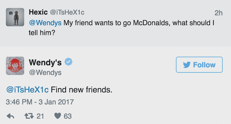 Text - Hexic @iTsHeX1c 2h @Wendys My friend wants to go McDonalds, what should I tell him? Wendy's @Wendys Follow @ITsHeX1c Find new friends. 3:46 PM-3 Jan 2017 21 63