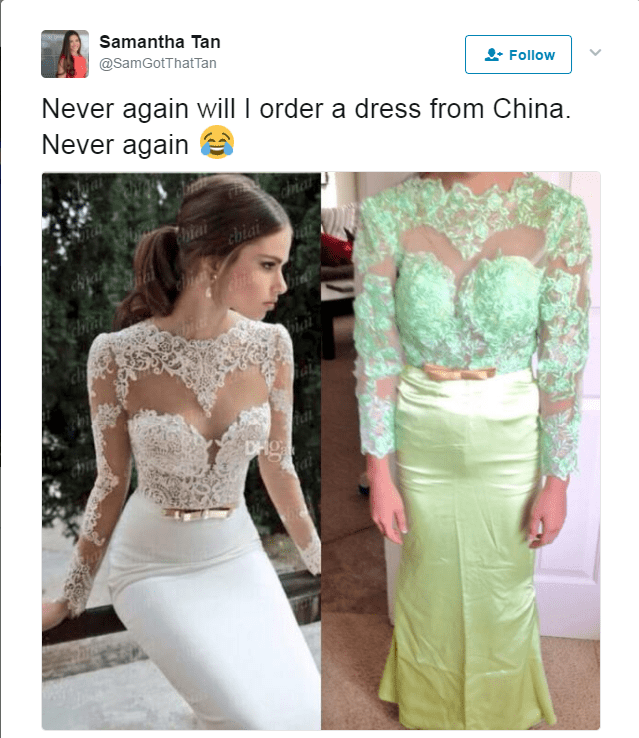Clothing - Samantha Tan @SamGotThatTan Follow Never again will I order a dress from China. Never again chiai DHg