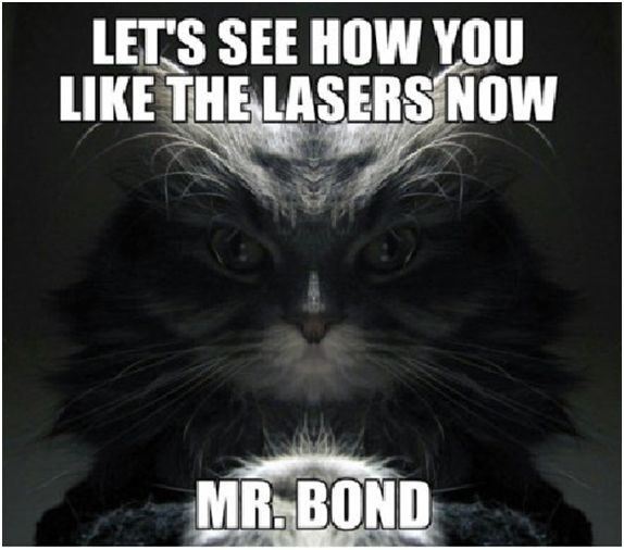 James Bond meme of a cat as a villain questioning 007