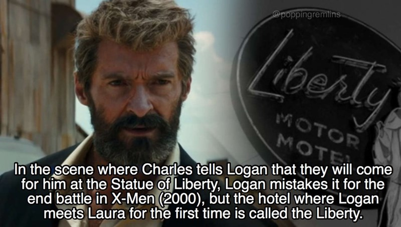 Hair - @poppingremlins Liherly MOTOR MOTE In the scene where Charles tells Logan that they will come for him at the Statue of Liberty, Logan mistakes it for the end battle in X-Men (2000), but the hotel where Logan meets Laura for the first time is called the Liberty.
