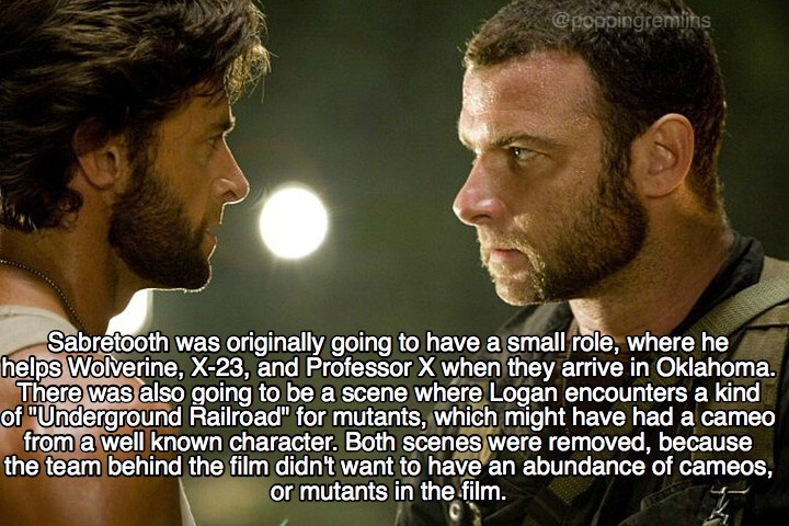 """Photo caption - @poppingremins Sabretooth was originally going to have a small role, where he helps Wolverine, X-23, and Professor X when they arrive in Oklahoma. There was also going to be a scene where Logan encounters a kind of """"Underground Railroad"""" for mutants, which might have had a cameo from a well known character. Both scenes were removed, because the team behind the film didn't want to have an abundance of cameos, or mutants in the film."""