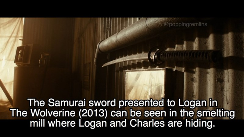 Text - @poppingremlins The Samurai sword presented to Logan in The Wolverine (2013) can be seen in the smelting mill where Logan and Charles are hiding.