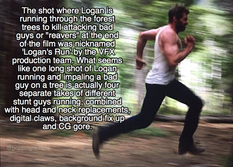 """Running - The shot where Logan is running through the forest trees to kill attacking bad guys or """"reavers"""" at the end of the film was nicknamed 'Logan's Run' by the VFX production team. What seems like one long shot of Logan running and impaling a bad guy on a tree is actually four separate takes of different stunt guys running, combined with head and neck replacements, digital claws, background fix up and CG gore. @poppingremihs"""