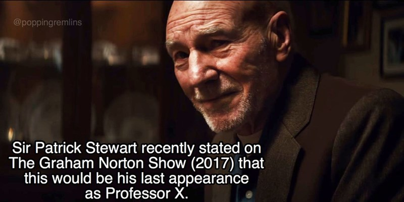 Facial expression - @poppingremlins Sir Patrick Stewart recently stated on The Graham Norton Show (2017) that this would be his last appearance as Professor X.