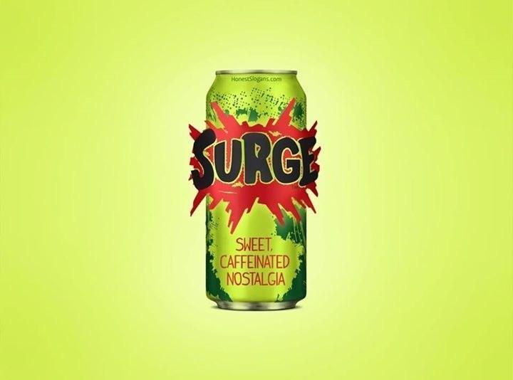 Beverage can - HonestSlogans.com SURG SWEET CAFFEINATED NOSTALGIA