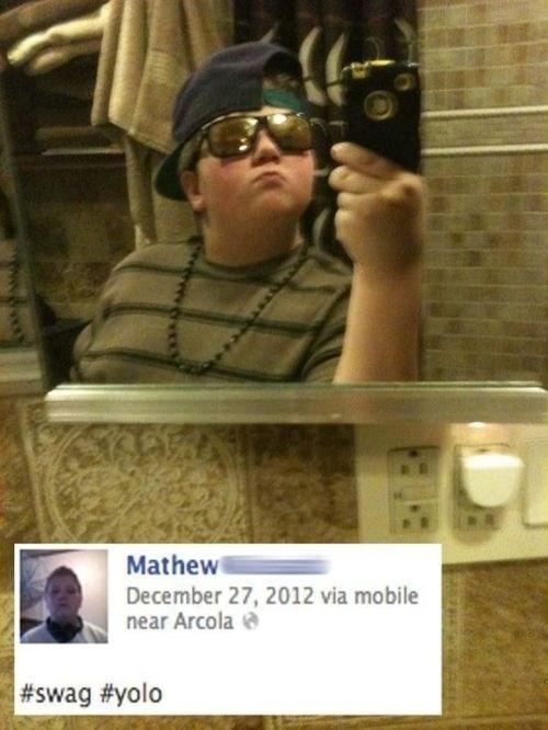 cringey neckbeard - Selfie - Mathew December 27, 2012 via mobile near Arcola #swag #yolo