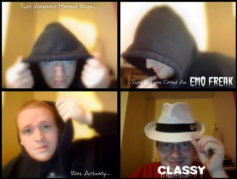 cringey neckbeard - Hat - That Awkward Moment When.. EMO FREAK That Kid you Called An CLASSY Was Actually..