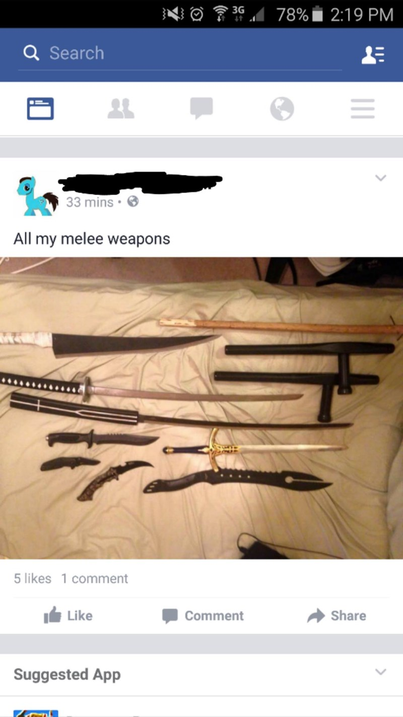 Website - 78% 2:19 PM 3G Q Search 33 mins All my melee weapons 5 likes 1 comment Like Share Comment Suggested App