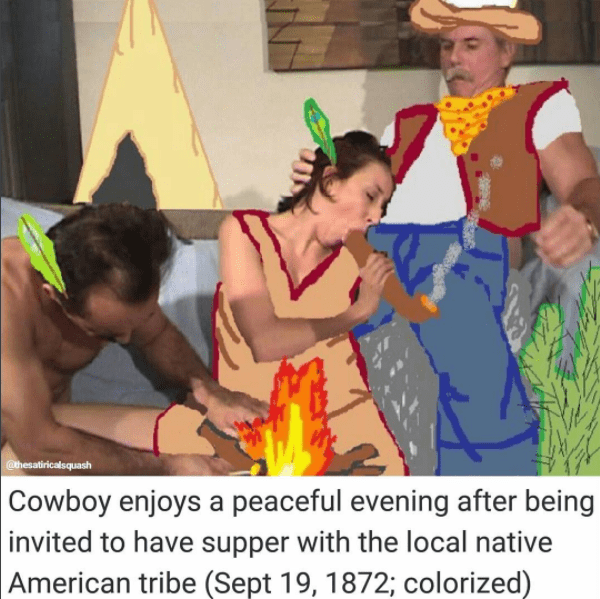 Native American images MS Paint over adult scene