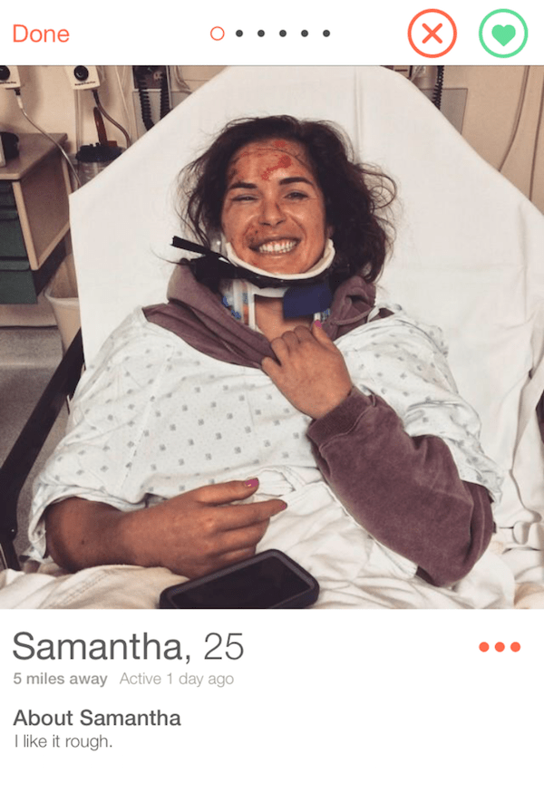 picture injured girl in hospital bed- Done Samantha, 25 5 miles away Active 1 day ago About Samantha like it rough. (X