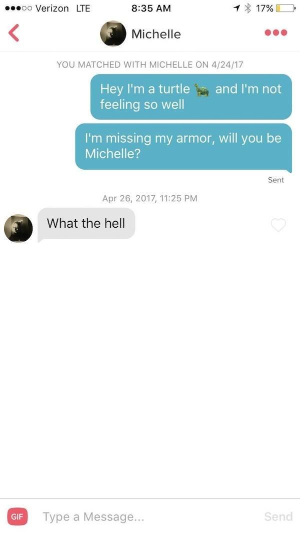 tinder messages Hey I'm a turtle feeling so well and I'm not I'm missing my armor, will you be Michelle? Sent Apr 26, 2017, 11:25 PM What the hell Send Type a Message... GIF