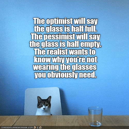Cat at table in front of glass and meme about optimist, realist, pessimist and what they would say.