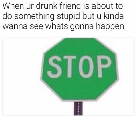 Funny meme using photo of GREEN stop sign, to describe when your drunk friend is doing something stupid but you want to see what is going to happen.