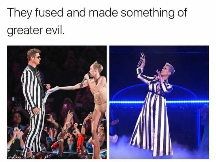 Funny Tweet meme about Robin Thicke and Miley Cyrus fusing to create something worse, Katy Perry.