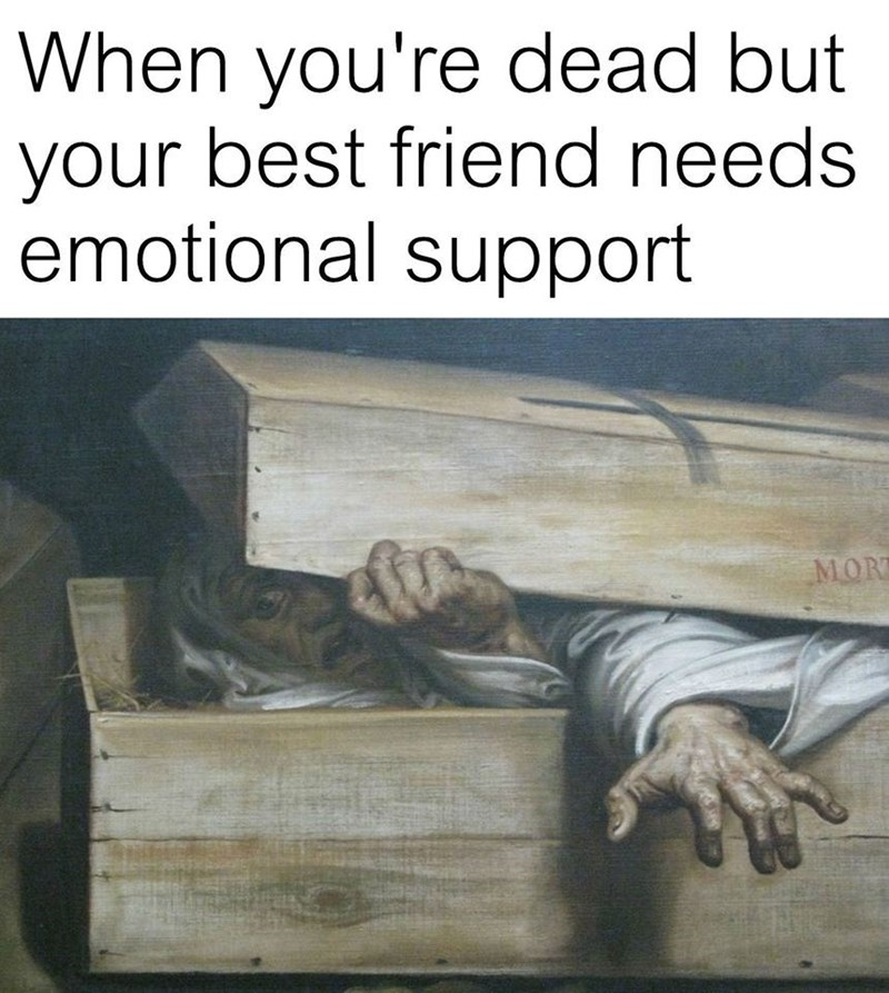 Funny meme using painting of a man coming out of a coffin, it says when you're dead but your friend needs emotional support.
