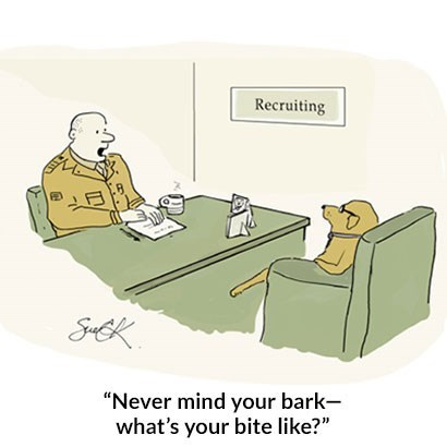 "Cartoon - Recruiting SEK ""Never mind your bark- what's your bite like?"""