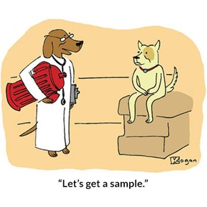 "Cartoon - Kogan ""Let's get a sample."""