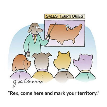 "Cartoon - SALES TERRITORIES 9.di Chrianro ""Rex, come here and mark your territory."""