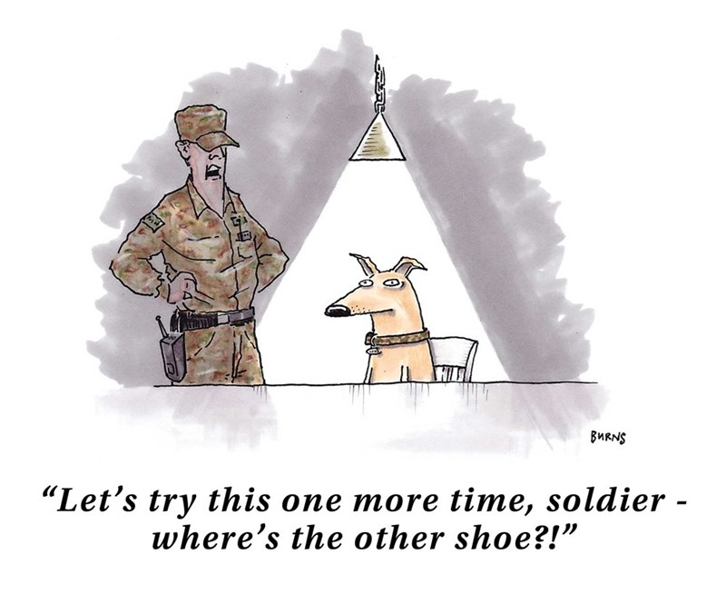 "Cartoon - BMRNS ""Let's try this one more time, soldier - where's the other shoe?!"""