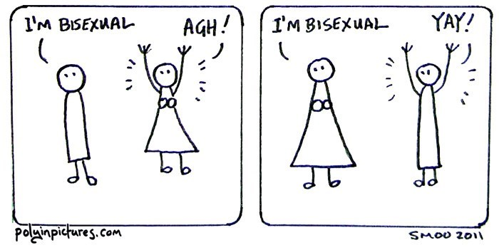 Text - YAY! AGH! I'M BISEXWAL I'MBISEXUAL palginpicures.com SMOO 201