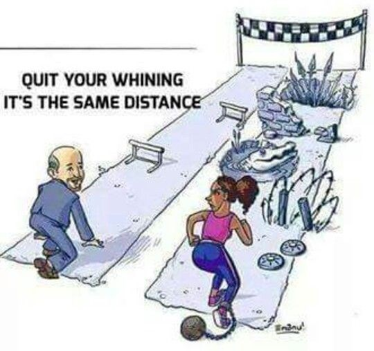 Cartoon - QUIT YOUR WHINING ITS THE SAME DISTANCE