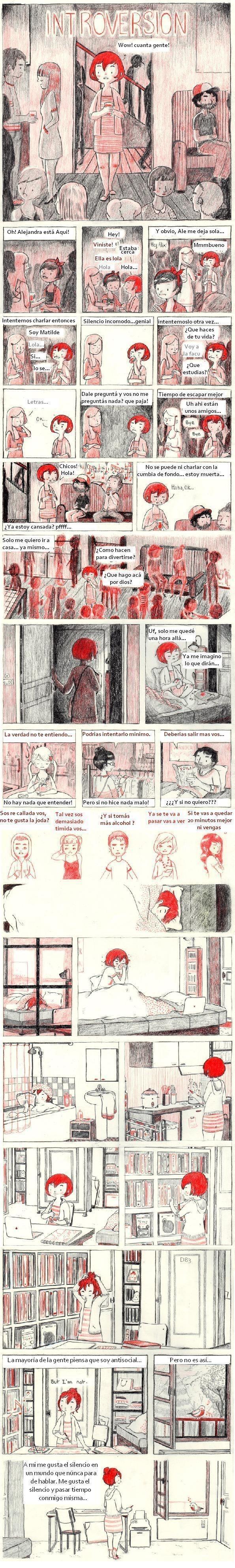 comic que explica muy bien lo que es la introversion