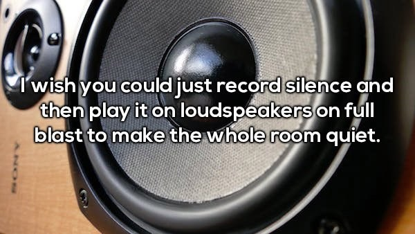 Loudspeaker - Twish you could just record silence and then play it on loudspeakers on full blast to make the whole room quiet.
