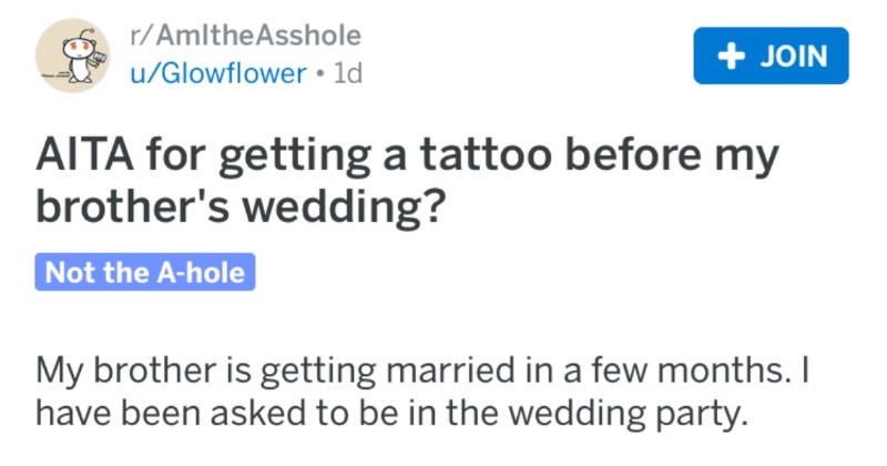 Groom gets mad at brother for getting tattooed before his wedding because it will distract people.