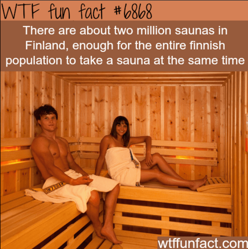 Sauna - WTF fun fact #6868 There are about two million saunas in Finland, enough for the entire finnish population to take a sauna at the same time WELLNES wtffunfact.com