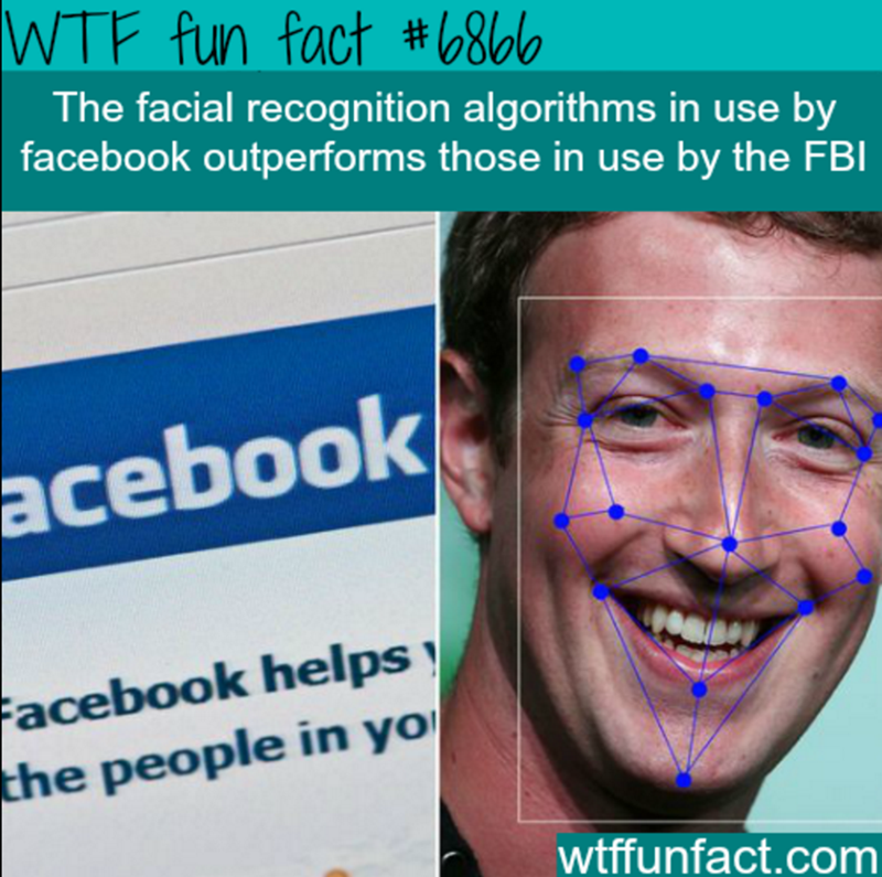 Face - WTF fun fact #6860 The facial recognition algorithms in use by facebook outperforms those in use by the FBI acebook Facebook helps the people in yo wtffunfact.com