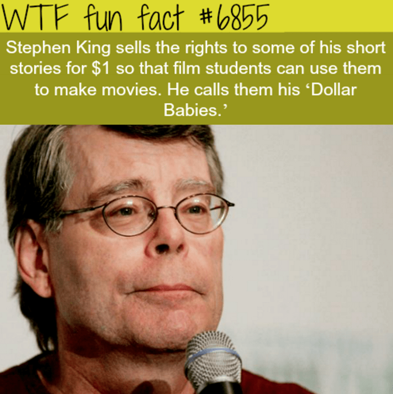 Nose - WTF fun fact #6855 Stephen King sells the rights to some of his short stories for $1 so that film students can use them to make movies. He calls them his 'Dollar Babies.