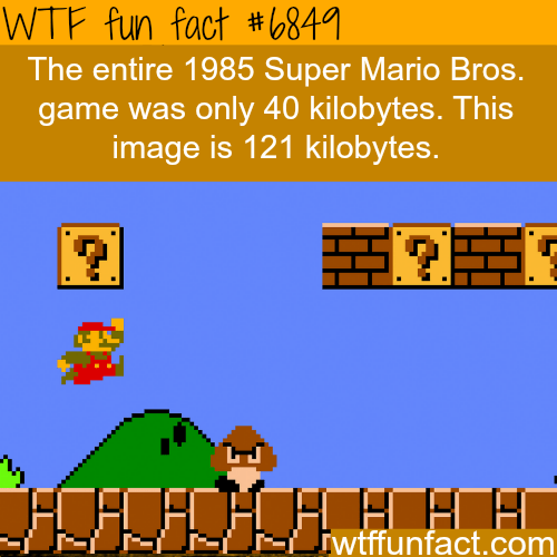 Yellow - WTF fun fact #6841 The entire 1985 Super Mario Bros. game was only 40 kilobytes. This image is 121 kilobytes. iwtffunfact.com