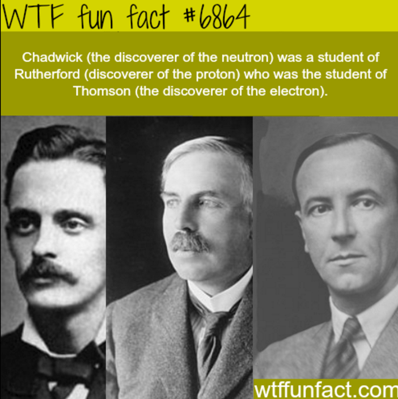 Text - WTF fun fact #6864 Chadwick (the discoverer of the neutron) was a student of Rutherford (discoverer of the proton) who was the student of Thomson (the discove rer of the electron). wtffunfact.com