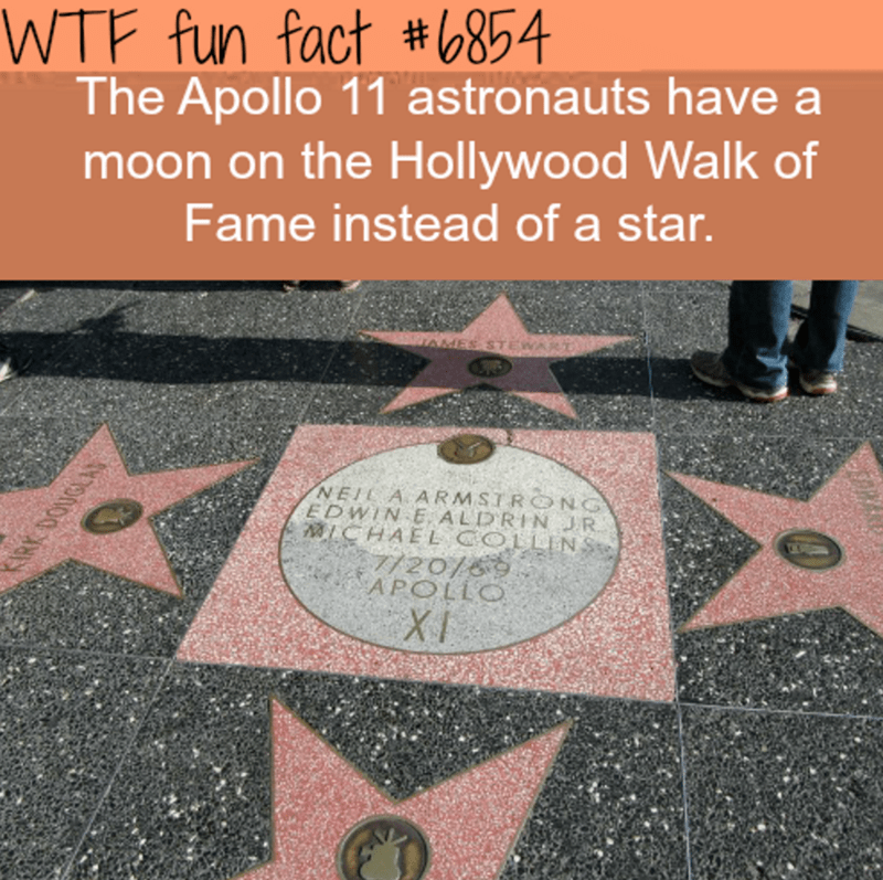 Text - WTF fun fact #854 The Apollo 11 astronauts have a moon on the Hollywood Walk of Fame instead of a star. NEIL A ARMSTRO NG EDWIN E ALDRIN JR LCHAEL COL LINS 7/20/69 APOLLO XI