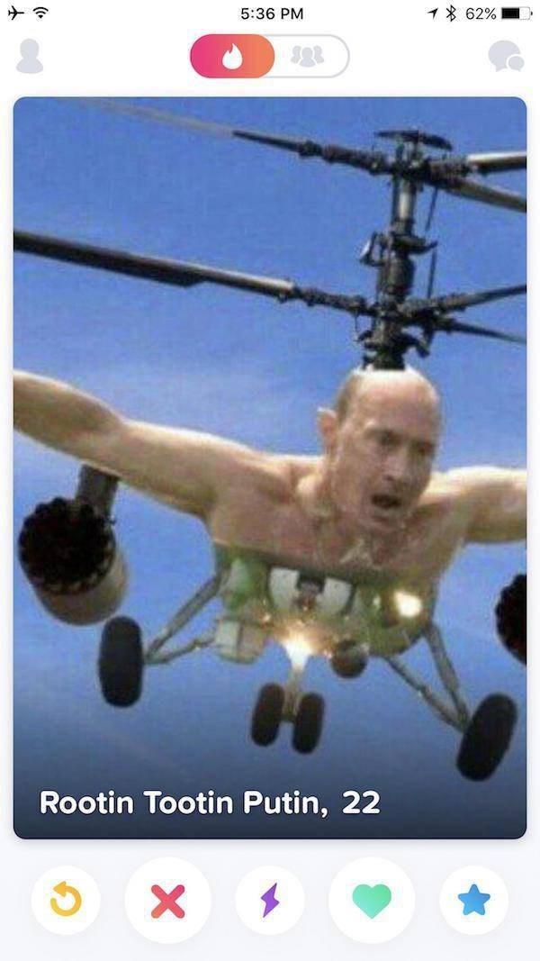 Helicopter - % 62% 5:36 PM Rootin Tootin Putin, 22 X