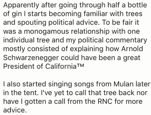 Text - Apparently after going through half a bottle of gin I starts becoming familiar with trees and spouting political advice. To be fair it was a monogamous relationship with one individual tree and my political commentary mostly consisted of explaining how Arnold Schwarzenegger could have been a great President of CaliforniaTM I also started singing songs from Mulan later in the tent. I've yet to call that tree back nor have I gotten a call from the RNC for more advice