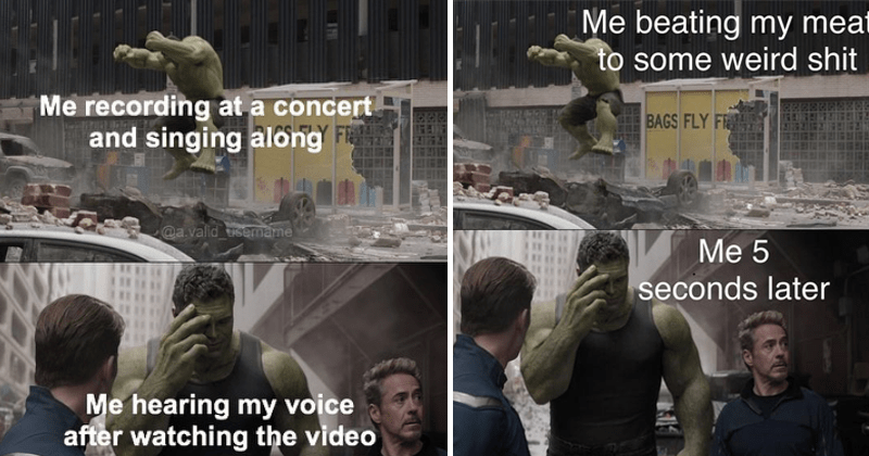 Funny memes about the hulk, regretful hulk, marvel memes, regret, past mistakes.