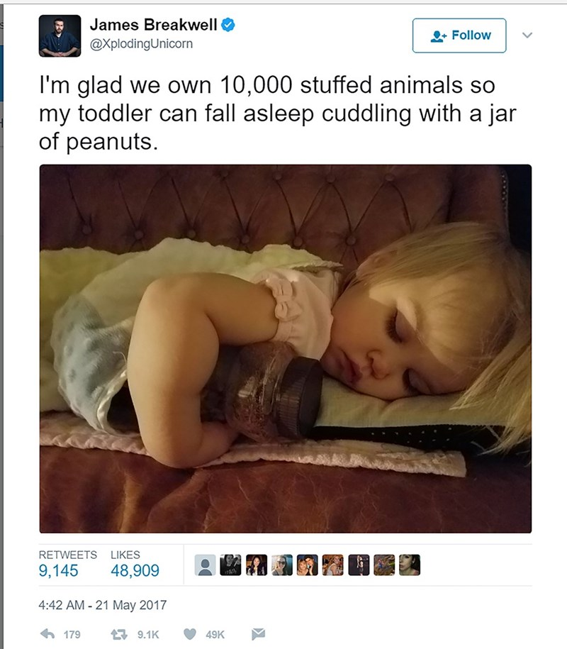 Text - James Breakwell Follow @XplodingUnicorn I'm glad we own 10,000 stuffed animals so my toddler can fall asleep cuddling with a jar of peanuts RETWEETS LIKES 9,145 48,909 4:42 AM - 21 May 2017 179 9.1K 49K