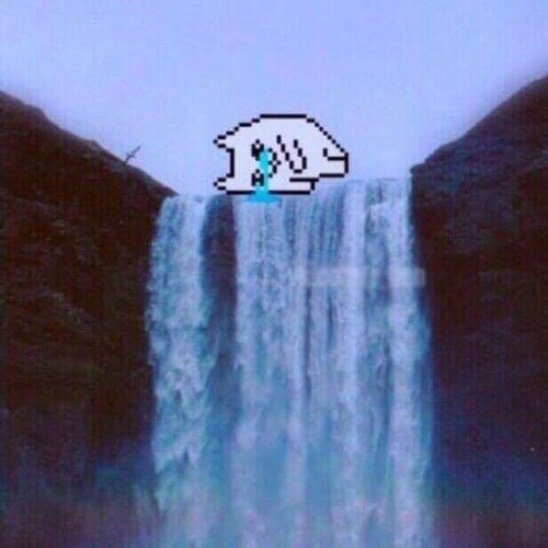 Graphic of cat crying into a waterfall of tears