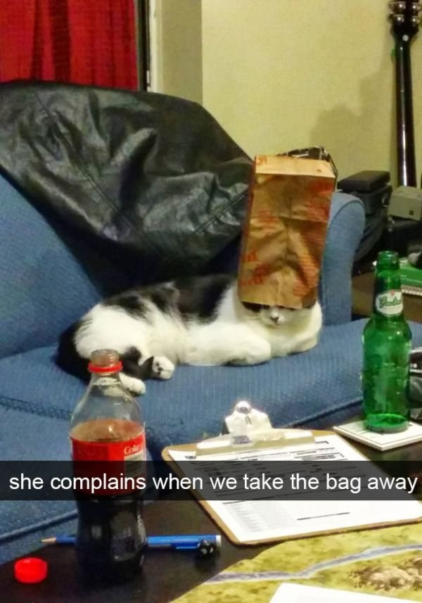 Gol she complains when we take the bag away