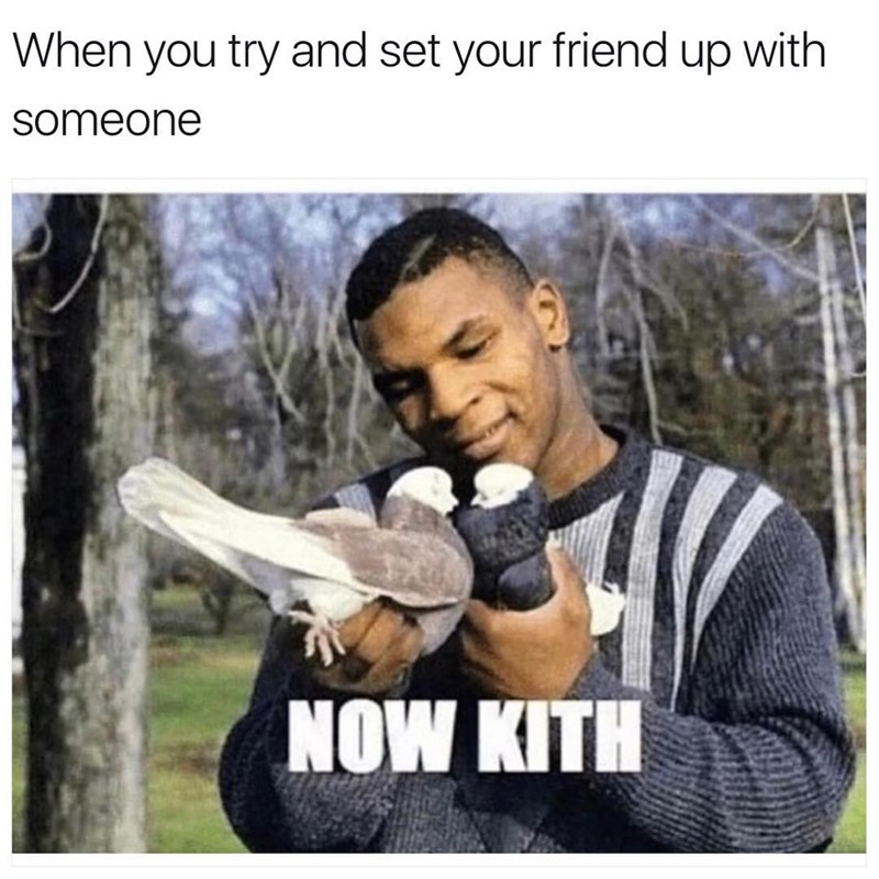Funny meme about setting friends up, image is mike tyson telling doves to kiss.