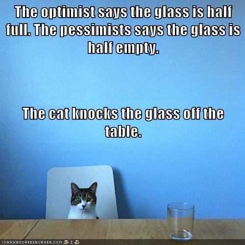 Cat knocks glass of table for optimist.