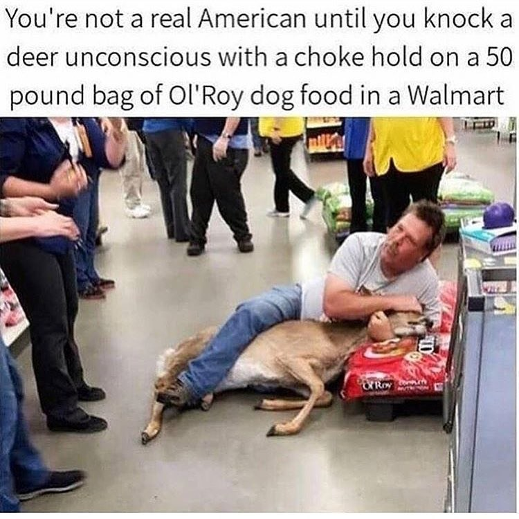Funny meme about having a deer in a chokehold at WalMart.