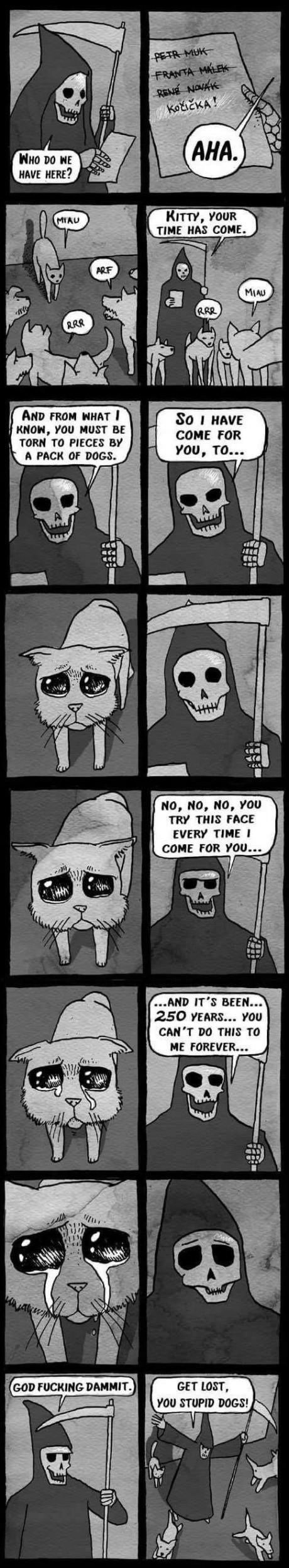Cute and funny web comic, the grim reaper comes for a kitty but can't follow through with killing it because it is so cute.