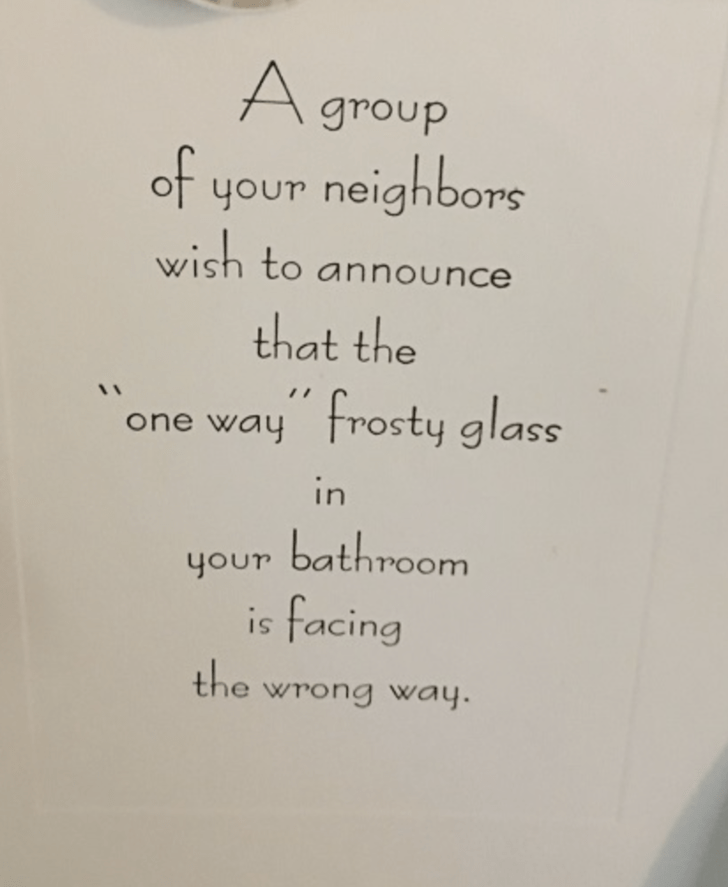 Tuesday meme of passive aggressive note telling you everyone can see you in the shower