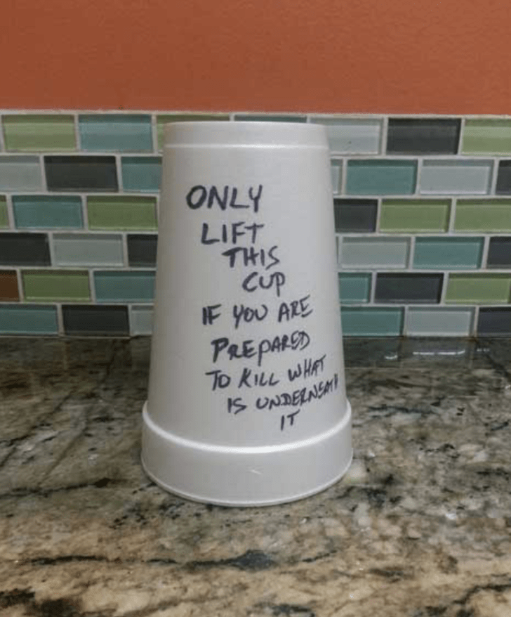 Tuesday meme of cup with a crucial warning